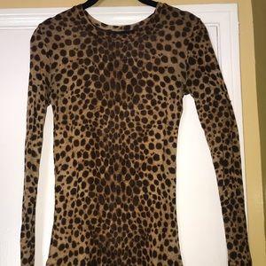 Stretchy sheer cheetah print long sleeve shirt